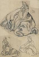 Hokusai~Preparatory sketch for The Courtesan Eguch