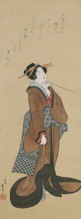 Hokusai~Woman Holding a Tobacco Pipe