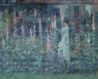 Frederick Carl Frieseke~Hollyhocks