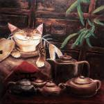 """Cat art by catmaSutra - Afternoon Tea"" by catmasutra"