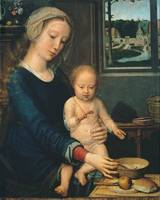 Gerard David~Madonna and Child with the Milk Soup