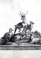 Giovanni Domenico Tiepolo~A Stag and Four Hinds on