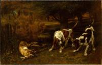 Gustave Courbet~Hunting Dogs with Dead Hare