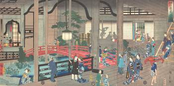 Hiroshige II~横浜 岩亀見込の図The Interior of the Gankiro