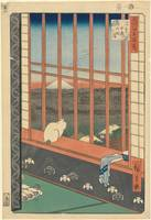 Hiroshige~The Festival of the Cock Procession acro
