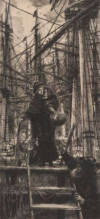 James Tissot~Emigrants (Woman with Child Disembark