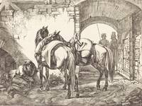 Johann Adam Klein~Cossack Horses in a Courtyard