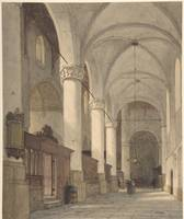 Johannes Bosboom~Vaulted Side Aisle of a Church, w