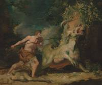 John Hamilton Mortimer~Man attacking a monster