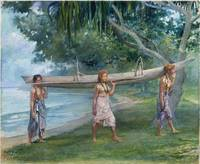 John La Farge~Girls Carrying a Canoe, Vaiala in Sa