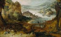 Joos de Momper~River Landscape with Boar Hunt