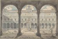 Louis Jean Desprez~Cloister of the Certosa di San