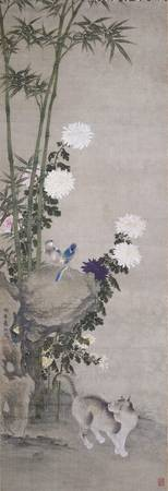 Mamura Rokō~Chrysanthemums with a Cat