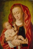 Master of Saint Giles~Virgin and Child with a Drag