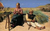 Michael Ancher~Figures in a landscape. Blind Krist