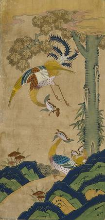 Unknown~Eight-panel Folding Screen of Auspicious A