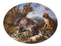 Joseph Nigg~Hunting scene with a Dog a Boar and a