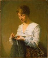 Julian Alden Weir~Knitting for Soldiers