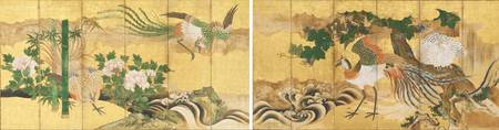 Kano School~Folding Screen with Design of Chinese