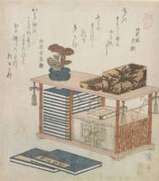 Keisai Eisen~Surimono illustrating a book cabinet