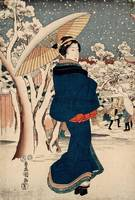 Kunisada~Beauty Walking on a Snowy Day