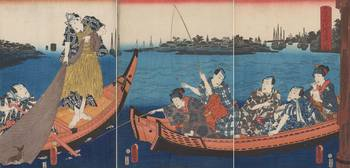 Kunisada~People Enjoying the Evening Cool and Fish