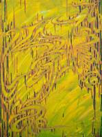 Abstract Yellow Green Painting #8