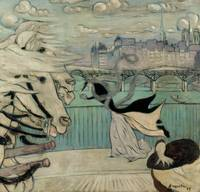 Louis Anquetin~Gust of Wind on a Bridge over the S