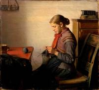 Michael Ancher~Skagen girl, Maren Sofie, knitting.