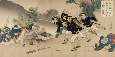 Artist Mizuno Toshikata~Five Japanese soldiers fig