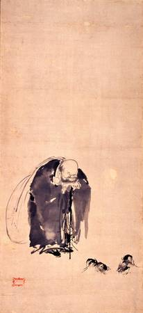 MIYAMOTO Musashi~Hotei, God of Fortune, watching a