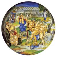 Nicola da Urbino~Armorial Plate Silenus on an ass,