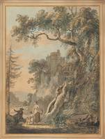Paul Sandby~Romantic Landscape-Peasants at the foo
