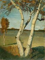 Paula Modersohn-Becker~Birch Tree in a Landscape