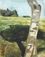 Paula Modersohn-Becker~Birch trunk in front of lan
