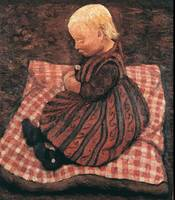 Paula Modersohn-Becker~Child on red cube pillow