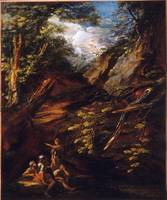 Salvator Rosa~Landscape with Soldiers in a Ravine