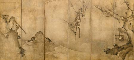 Sesson Shukei~猿猴捉月図屏風Gibbons in a Landscape