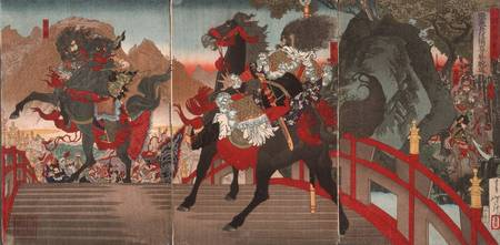 Yoshitoshi~Zhang Fei on the Long Sloped Bridge Tur