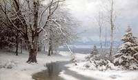 Anders Andersen-Lundby~A Wooded Winter Landscape