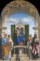 Cima da Conegliano~Madonna and Child Enthroned wit