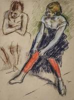 Edgar Degas~Dancer with Red Stockings
