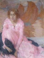 Edmond Francois Aman-Jean~The Pink Dress