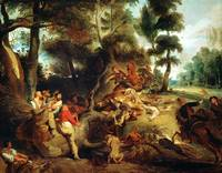 Eugène Delacroix~The Wild Boar Hunt, after a paint