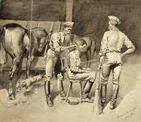 Frederic Remington~A Haircut in a Cavalry Stable
