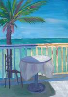 Seaview Cafe Table at the Caribbean With Palm - Dr