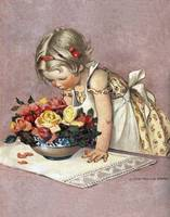 Jessie Willcox Smith~Little Girl Admiring a Bowl o