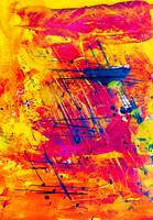 Abstract Expressionism Art Orange Yellow Red and B