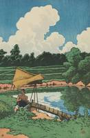 Kawase Hasui~Irrigating the Rice Fields (Mizuage T