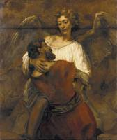 Rembrandt van Rijn~Jacob Wrestling with the Angel